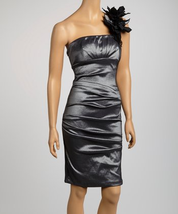 Pewter Ruched Asymmetrical Dress