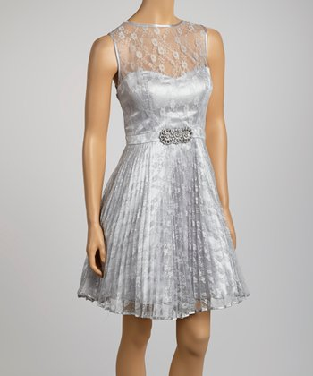 Silver Lace Faux Belt Sleeveless Dress
