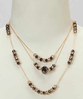 Bronze & Platinum Three-Row Gold Chain Necklace