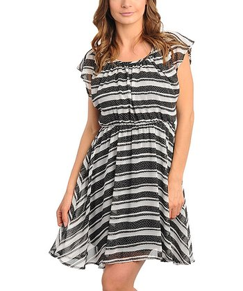 Black & White Stripe Flutter-Sleeve Dress