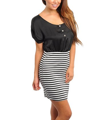 Black & White Stripe Short-Sleeve Dress