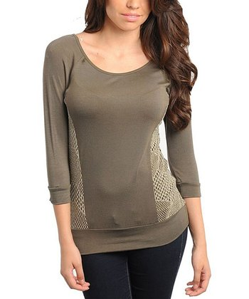 Olive Mesh Three-Quarter Sleeve Top