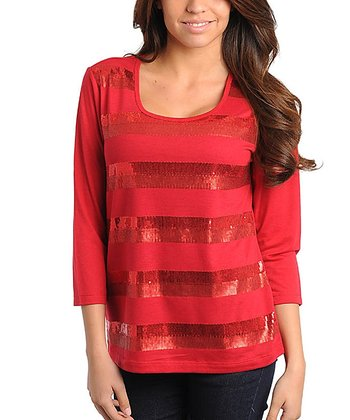 Red Sequin Stripe Top