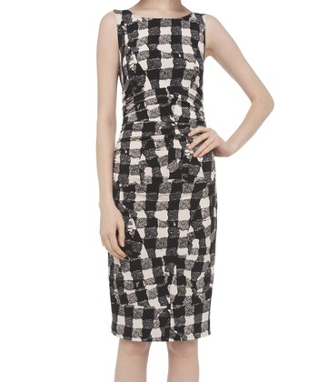 Black & Off-White Drunk Check Dress