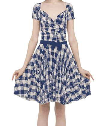 Cobalt & Off-White Drunk Check Sweetheart Surplice Dress