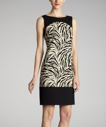 Black & Taupe Zebra Dress