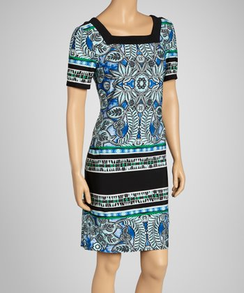 Blue Status Square Neck Dress
