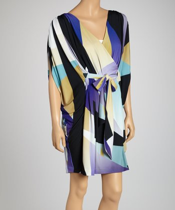Purple Rain Cape-Sleeve Dress