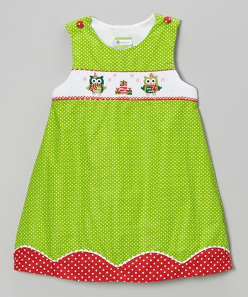 Red & Green Christmas Owls Smocked Jumper - Toddler & Girls