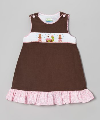 Pink & Brown Gingerbread Corduroy Jumper - Toddler & Girls