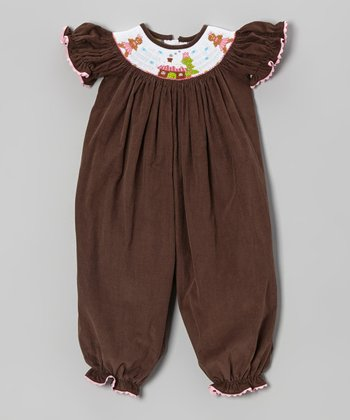 Pink & Brown Gingerbread Smocked Corduroy Playsuit - Infant