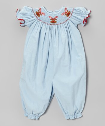 Light Blue Rudolph Smocked Corduroy Playsuit - Infant