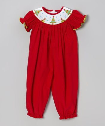 Red Funky Christmas Trees Smocked Corduroy Playsuit - Infant