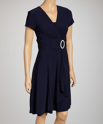 Navy Cascade Ity Dress - Women & Petite