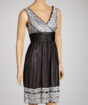 Black Lace Surplice Dress - Women & Petite