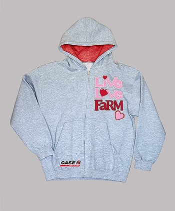 Athletic Heather 'Live Love Farm' Zip-Up Hoodie - Toddler