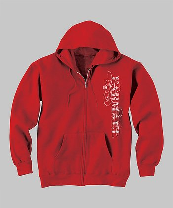 Red 'Farmall' Zip-Up Hoodie - Women