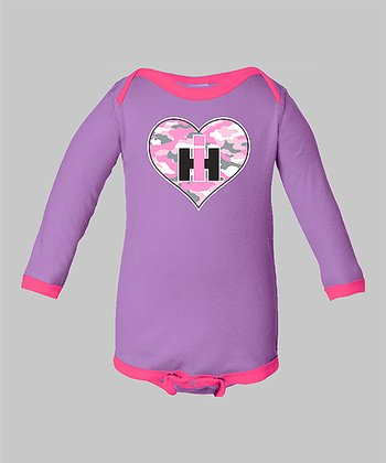 Lavender Camo Heart Bodysuit - Infant