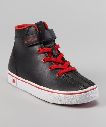 Black & Fiery Red Clean Laguna Hi-Top Sneaker