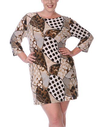 Beige & Brown Patchwork Dress - Plus