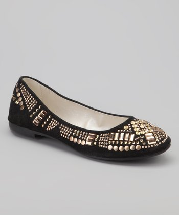 Black Beaded Aida Ballet Flat