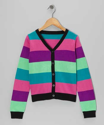 Pansy Rainbow Love Stripe Cardigan - Girls