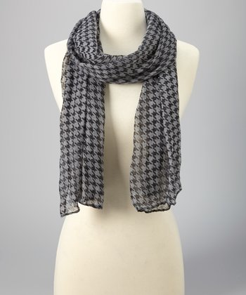 Gray & Black Houndstooth Scarf