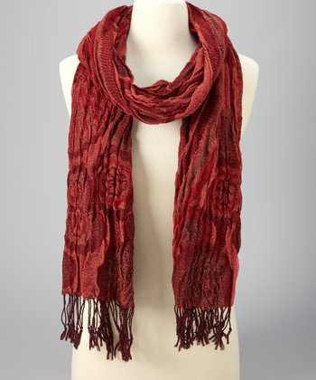 Red & Orange Fringe Scarf