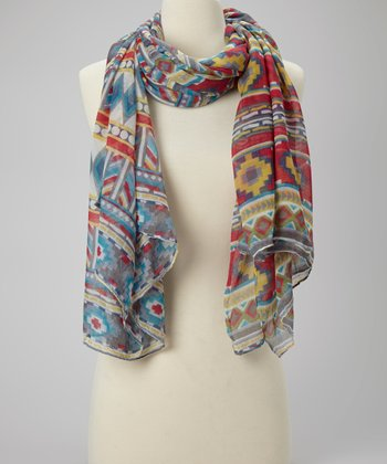Red & Blue Tribal Scarf