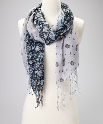 Gray Paisley Perfect Scarf