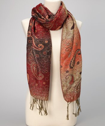 Magenta Paisley Double-Layer Pashmina-Silk Blend Scarf