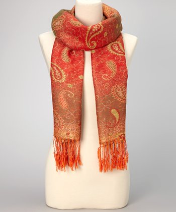 Cherry Paisley Double-Layer Fringe Pashmina-Silk Blend Scarf