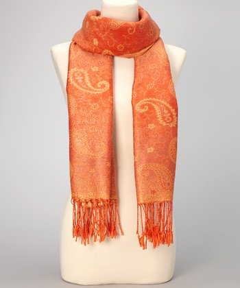 Orange Paisley Double-Layer Fringe Pashmina-Silk Blend Scarf