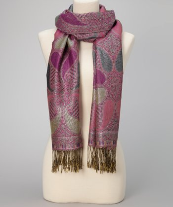 Purple Paisley Metallic Fringe Pashmina-Silk Blend Scarf