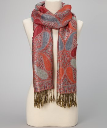 Red Paisley Metallic Fringe Pashmina-Silk Blend Scarf
