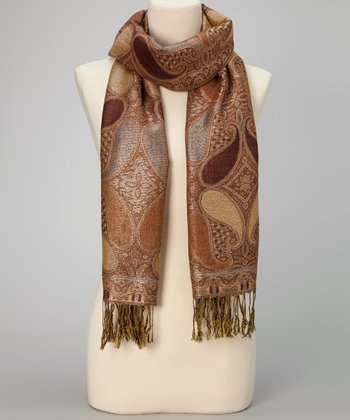 Brown Paisley Metallic Fringe Pashmina-Silk Blend Scarf