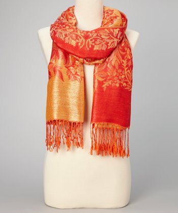 Red & Orange Floral Fringe Pashmina-Silk Blend Scarf