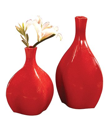 Scarlet Ceramic Vase Set