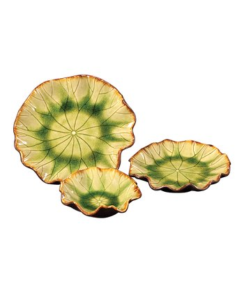 Moss Green Ceramic Plate Set