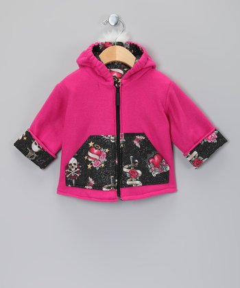 Pink Floral Mohawk Zip-Up Hoodie - Infant