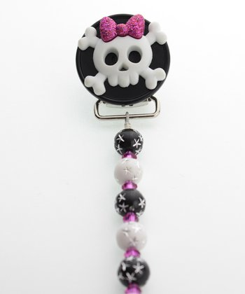 Black & White Bow Skull Beaded Pacifier Clip