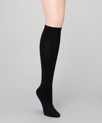 Black Diamond Grid Knee-High Socks