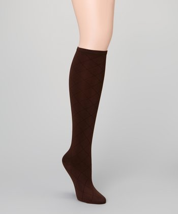 Coffee Bean Diamond Grid Knee-High Socks
