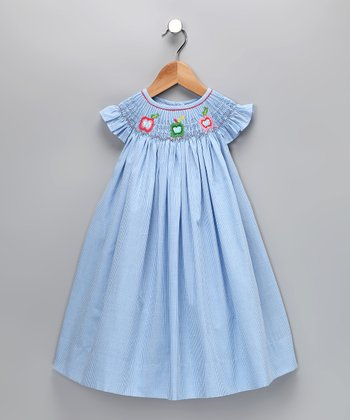 Blue Apple Gingham Angel-Sleeve Dress - Infant, Toddler & Girls