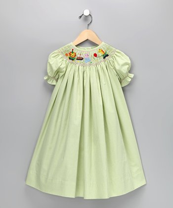Lime Green Circus Gingham Bishop Dress - Toddler & Girls