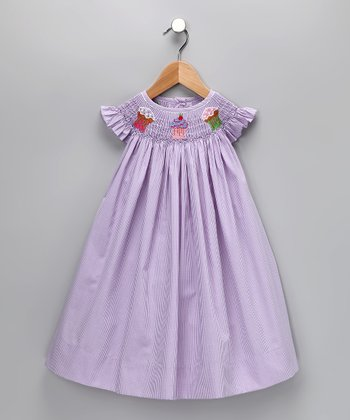 Lavender Cupcake Gingham Bishop Dress - Infant, Toddler & Girls