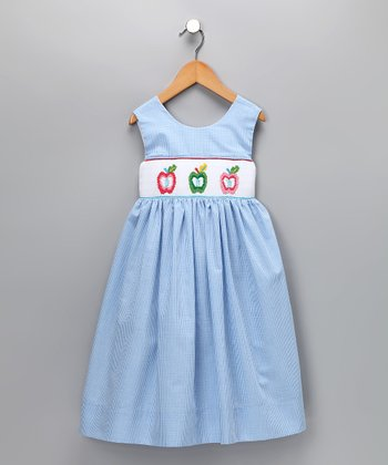 Blue Apple Gingham Dress - Infant, Toddler & Girls