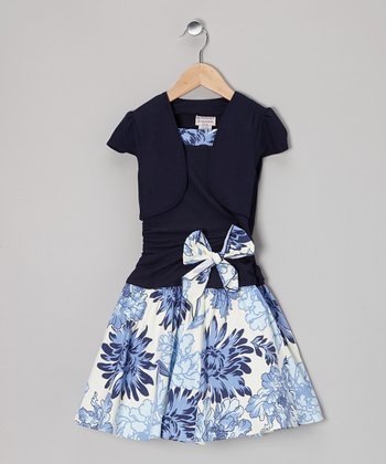 Navy & White Floral Layered Drop-Waist Dress
