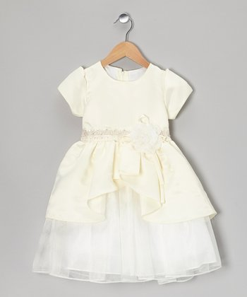 Ivory Tiered Ruffle Babydoll Dress - Toddler & Girls