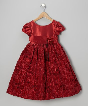 Red Crinkle Flower Dress - Girls